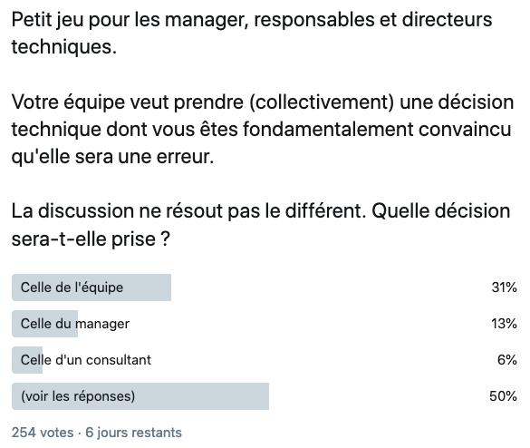 Petit jeu pour les manager, responsables et directeurs techniques.  Votre équipe veut prendre (collectivement) une décision technique dont vous êtes fondamentalement convaincu qu'elle sera une erreur.  La discussion ne résout pas le différent. Quelle décision sera-t-elle prise ?  - Celle de l'équipe 31% - Celle du manager 13% - Celle d'un consultant 6% - (voir les réponses) 50%  254 votes.